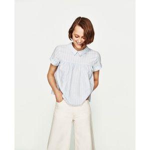 NWT Zara Size L Striped Collar Top